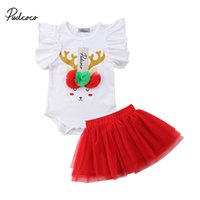 юбка рождественская юбка оптовых-Pudcoco Toddler Baby Kids Girl Christmas Clothing Set Sleeveless Bodysuit Tops+Tutu Tulle Skirts 2pcs Summer Outfits Set Party