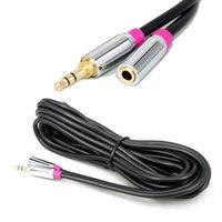 alto-falantes estéreo multimídia venda por atacado-3.5mm Cabo AUX Macho para Fêmea Cabos De Áudio Estéreo Para Telefones Inteligentes PC Speaker Frete Grátis
