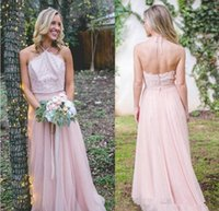 Wholesale draped halter top - 2018 Light Pink Halter Neck Cuntry Bridesmaid Dresses A Line Backless Lace Top Maid of Honor Gowns Western Country Wedding Guest Dress
