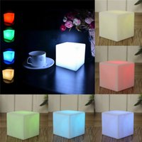 Wholesale lamps for night tables resale online - Luminous Mini Night Lamp Multi Colors Square LED Light Plastic Discoloration Table Lamps For Home Decor yy B