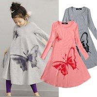 ingrosso vestiti rosa grigio-2017 farfalla ragazza abiti in cotone neonate abbigliamento primavera metà polpaccio nove maniche stile bambini vestiti grigio / rosa 2 colori