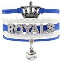 unendlichkeit diamant liebe armband großhandel-Benutzerdefinierte - Unendlichkeit Liebe Kc Kansas City Royals Baseball Krone mit Diamant einstellbar Armband Cords Wrap Geflochtenen Leder Armreifen