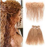 bakire saç kıvırcık kıvırcık ön toptan satış-# 27 Kinky Kıvırcık Saç Örgüleri Ile Dantel Frontal Ile Bal Sarışın Demetleri Frontal 3 Demetleri Fırsatlar Bakire Perulu Saç Uzantıları Afro Kinky