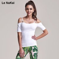 Wholesale Cut Out Back Shirt - Half Sleeves Leak Shoulder Cute Cut Out Strappy Yoga Top Shirt Solid Slim Sporty Halter Open Back Sexy Camisole Sports Shirts
