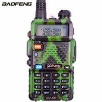 transceptor 3km al por mayor-BaoFeng UV-5R camuflaje verde Walkie Talkie 128CH 5W Transmisor de potencia Transceptor Dual Band Dual Display de dos vías Radio