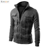поддельная молния оптовых-Jacket Men's Clothing Mens Jackets Coats Zipper Fashion Fake Pocket Design Male Jacket Jaqueta Masculino Casacas Para Hombre no3