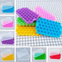 congelador de cubos de gelo venda por atacado-37 Grids Ice Honeycomb Bandeja De Cubos de Silicone Molde De Gelo Fabricante + Tampa Geladeira Freezer Ice Cream Ferramentas T2I273