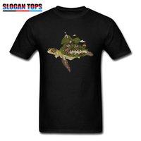 kaplumbağa yenilik hediye toptan satış-Yenilik Tops Gömlek Kaplumbağa Ada T Shirt Erkek T-Shirt Yeni Baba Günü Hediye Tshirt Kısa Kollu O-Boyun Pamuklu Giysiler Özel