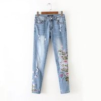 Wholesale long chen for sale - Chen Europe and America Fashion Wind Chrysanthemum Skinny Embroidered Jeans Pencil Elastic Sexy Pants