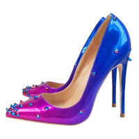 Wholesale shoes big mouth online - 2018 Europe Autumn New Pointed High Heels Shoes Fashion Gradient Rivet Nightclub Shallow Mouth Stiletto Ladies Banquet Pumps Big Size