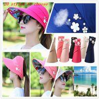 şapka stilleri toptan satış-Ayarlanabilir Güneş Şapka Kenarlı Yaz Güneşlik Şapka Güneş Plaj Katlanabilir Roll Up Geniş Brim Cap Bayanlar Yeni stil FFA344 20 adet