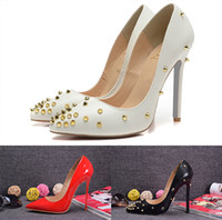 Wholesale green prom heels - The lowest wholesale ladies prom studded high heels gold black red wedding shoes designer shoes Women shoes with height 12cm