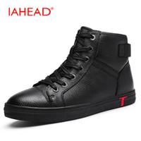 Wholesale Lace Up Rain Boots - IAHEAD Men Boots Genuine Leather Flats New Casual Shoes Lace-Up Warm Winter Boots Men Plus Size 38-48 Rain Shoes MH586