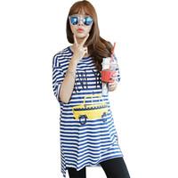 ropa de lactancia materna al por mayor-Contraste de rayas azules Color Nursing Top Ropa de embarazo Funny Power Supply - Lactancia materna Camiseta larga de manga corta Mamá