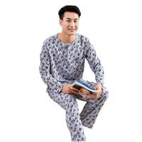 ropa interior pantalón al por mayor-Summer Men O-Neck Sleepwear ShirtPant Hombre Ropa de dormir 2PCS Pijamas Traje A cuadros Negligee Cotton Inicio Ropa Intimate Lingerie
