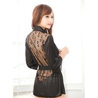 vestes negras para mulheres venda por atacado-1 PCS Hot Sexy Lingerie Plus Size Cetim Laço Preto Kimono Intimate Sleepwear Robe Sexy Night Gown Mulheres Sexy Erotic Underwear
