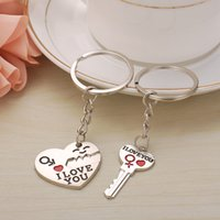 Wholesale keys smile resale online - English Key Buckle Pendant Heart Shaped Smiling Face Keychain Originality Valentine Day Gift Keyring For Lovers xs WW