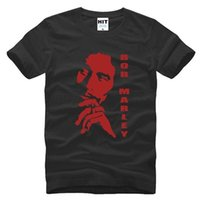bob marley baskı pamuk toptan satış-Yaz Reggae Bob Marley Erkekler T Shirt Casual Pamuk Bob Marley Kafa Baskılı T-Shirt Kısa Kollu Pamuk Adam Tops Tees