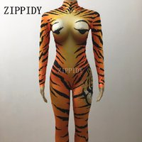 Wholesale tiger costume women for sale - Sexy Tiger Patern Jumpsuit Big Stones Performance Bling Gold Rhinestone Bodysuit Stage Wear Nightclub Shining Costume Party Wear