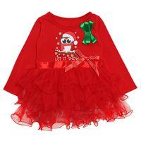 Wholesale owl clothing girl resale online - Baby girls Christmas lace Tutu dress Children owl princess dresses Autumn fashion Boutique Xmas Kids Clothing C5510