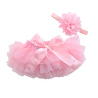 Wholesale Newborn Ruffled Diaper Cover - Baby Girl Cotton Ruffle Bloomers Cute Baby Diaper Cover Newborn Flower Shorts Toddler Fashion Summer Clothing Chiffon Skirts Satin Pants
