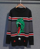 Wholesale dinosaur sweaters - Hot! Autumn And Winter New men and women fashion Sweater dinosaur Five stars Multicolor stripe Stitching Sweaters