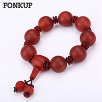 ingrosso agata rossa scura-Fonkup Women Party Braccialetti Red Agate Wristband Natural Stone Jewellery Solid Colore Dark Red Spacer Lucky Prayer Beaded Ruby