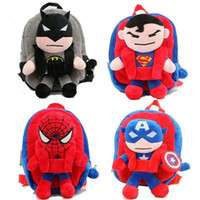 Wholesale plush spiderman - 3D The Avengers Plush Backpacks Toys for kids New Ironman Superman Spiderman Batman doll plush schoolbag mochila