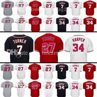 Wholesale Xl Girls - Men's 27 Mike Trout 7 Trea Turner 34 Jersey Washington Los Angeles Baseball Jerseys Embroidery Logos 100% Stitched