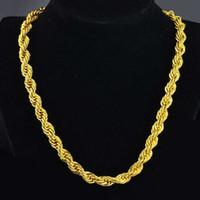 cadenas sólidas para hombre al por mayor-Hip Hop 24 Pulgadas Mens Collar de cadena de cuerda sólida 18k Oro amarillo Relleno de declaración Knot Jewelry Gift 7 mm de ancho