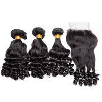 funmi haarspitze verschluss großhandel-Brasilianisches Menschenhaar spinnt und Lace Closure Bouncy Romance Curls Extensions 4pcs viel Tante Funmi Hair 3Bundles mit Lace Closure