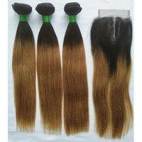parte de cabello ombre cierre al por mayor-Paquetes brasileños de la armadura del pelo de T1B / 27 Ombre con el cierre Paquetes femeninos rectos del pelo humano 3 con la encierro de la parte media 4x4 Non Remy