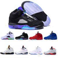 en çok satan basketbol ayakkabıları toptan satış-Air Jordan Retro 5 5s Nike AJ5 En çok satan mens ayakkabı 5 5 s V Olimpiyat metalik Altın mavi sude Adam Basketbol Ayakkabıları OG Siyah Metalik kırmızı açık erkekler Spor Sneakers