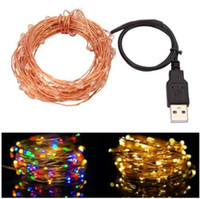 Wholesale Led For Decoration Lighting - 10M 33FT 100led USB Led Copper Wire String Lights Fairy Lights Waterproof for Christmas Festival Wedding Party Garland Decoration