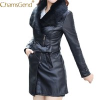Wholesale Fur Coat Leather Belt - Chamsgend Newly Design Women Fashion Soft Fur Collar Zipper Long PU Leather Coat Jacket With Belt Drop Shipping 71013