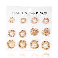 Wholesale restore copper - Cross Border Restore Ancient Ways Set Rhinestone Flower Pearl Ear Nail 6 Paper Group Combine Suit Six Yes Golden Earrings Earring Product