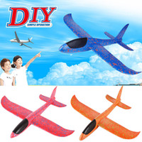 Wholesale glider toys online - 48cm Foam Throwing Glider Airplane Inertia Aircraft Toy Hand Launch Airplane Model Kids Toy Gift Decompression Toy FFA240 COLORS