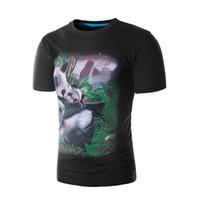 druck hemden china groihandel-2018 Herren T-Shirt China Wind Panda Druck Solid Print Männer Rundhals Kurzarm T-Shirt 5601