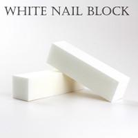 buffers de blocos brancos venda por atacado-Boa qualidade Atacado Branco lustrando Lixar Arquivos Bloco Pedicure Manicure Nail Care buffer de arquivo para Salon frete grátis
