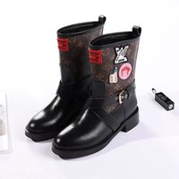 41b292146ffd Wholesale women wedge rain boots online - Counter synchronization new  imported leather medal boots Women Riding