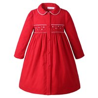 Wholesale winter wear outfits - Pettigirl New Arrival Girl Smocking Coat Kids Autumn Long Sleeve Girls Wear Christmas Outfits Red G-DMOC009-A159