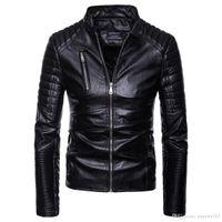 vestes pu europe achat en gros de-Vente chaude Hommes PU En Cuir Veste Court Mince Loisirs Hommes Outwear Manteau Haute Qualité Casual Moto Veste Europe Taille S-2XL
