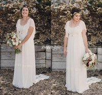 Wholesale Beach Lace Wedding Dresses - 2018 Ivory Bohemian Wedding Dresses Plus Size Maternity Lace Short Sleeves Cheap Scoop Open Back Country Spring Wedding Bridal Wedding Gowns