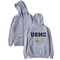 chapeaux de marines achat en gros de-USMC Hoodie Zipper Casual Hiver Hommes Femmes Pull United States Marine Corps Logo Imprimer US MC Sweat À Capuche Avec Chapeau