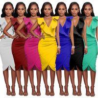 edles farbiges hüllenkleid großhandel-Bodycon Kleider Einfarbig Mantel V-Ausschnitt falbala Sleeveless reizvolle Art und Weise Edle Jugend Schöne hohe Elastizität F6P035