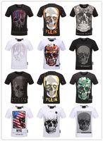 Wholesale autumn shirt men - 2018 Autumn Men T Shirt Fashion Short Sleeve t-shirt Clothing Casual Skull Letter print Hip Hop Male Tops Tee T Shirt