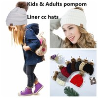 Wholesale hat knitting fur yarn - Kids & Adults CC Fur Poms Beanie With Liner Trendy Hats Winter Knitted Luxury Cable Slouchy Skull Caps Leisure Beanie 12 Pcs LJJY1238