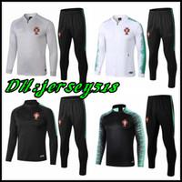 jerseys portugal al por mayor-2018 19 Portugal survetement jacket Traje de entrenamiento Jersey de fútbol Chándal Portugal Chaqueta de fútbol Conjunto de chándal