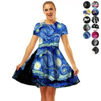 Wholesale vintage woman costume online - 12styles Women vintage Star printed Dress pleated Swing Evening Party Round Neck Rockabilly party Costume Festival Female Dress FFA984