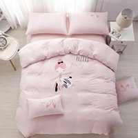 Wholesale full size bedding for girls online - 100 cotton Knitted Exclusive Bedding Set Ballet girl for kids safety standards Duvet Cover set Bedsheet Twin Queen size p
